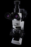 Oculars side research microscope view isolated on a black background Royalty Free Stock Image