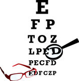 Oculist alphabet. Test alphabet in oculist room with glasses and loupe. Vector illustration Royalty Free Stock Photo