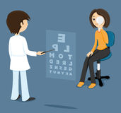 Oculist checks sight at the woman. Royalty Free Stock Photos