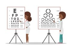 Oculist doctor couple pointing at letter on board. royalty free illustration