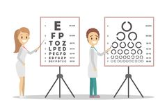 Oculist doctor couple pointing at letter on board. stock illustration