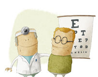 Oculist doctor with patient Royalty Free Stock Photos