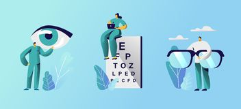 Free Oculist Doctors Set, Professional Optician Exam Devices For Treatment Vision Eyeglasses And Chart For Eyesight Check Up Royalty Free Stock Photo - 162344855
