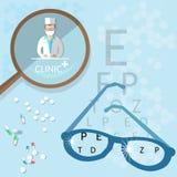 Oculist medical ophthalmologist doctor diagnostics eyeglasses Stock Photos