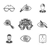 Oculist and optometry black icons set Stock Image