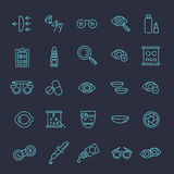 Oculist optometry vision correction eyes health black icons set  vector illustration Royalty Free Stock Images