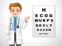 Oculist Showing An Eye Chart vector illustration