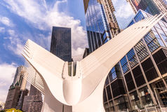 Oculus in Downtown NYC. New York, USA - Sept. 3, 2016. A view of the Oculus, a new transit hub in lower Manhattan Royalty Free Stock Photos