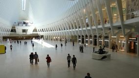 Oculus. The main station of the World Trade Center Transportation Hub, in downtown Manhattan. Designed by Spanish architect Santiago Calatrava, it opened in stock video footage