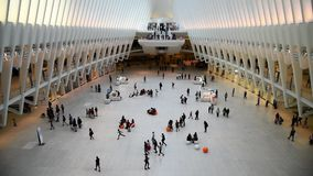 Oculus transportation hub in New York. New York City, USA - June 20, 2018: Slow motion footage of Oculus transportation hub in New York stock footage