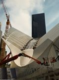 Oculus under construction near Freedom Tower. August 2015 stock image