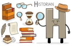 Ocupação de Alphabeth - letra H - historiador ilustração royalty free