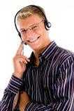 Ocupado masculino con la comunicación cómoda imagen de archivo