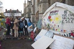 Ocupe activistas de Exeter recolhem antes de sua ação Fotografia de Stock