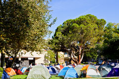 Ocupe el acampamento del manifestante del UCLA en campus Fotografía de archivo libre de regalías