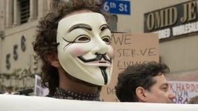 Ocupe la máscara del ` de la venganza del ` del manifestante almacen de video
