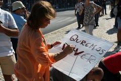 Ocupe Lisboa - protestas globales el 15 de octubre de la masa Imágenes de archivo libres de regalías
