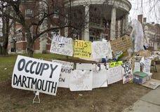 Ocupe Wall Street vía la universidad de Dartmouth Fotografía de archivo