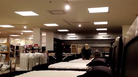 OCustomer shopping mattress inside Sears store. Customer shopping mattress inside Sears store in Burnaby BC Canada stock video