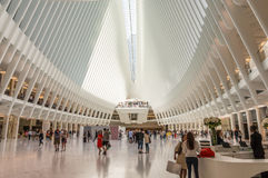 Ocuus Lower Level View. New York , NY USA - September 3, 2016 , Interior view of the oculus from the  lower level facing West in  downtown New York Royalty Free Stock Photography