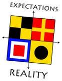 Oczekiwania versus rzeczywistość royalty ilustracja