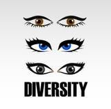 Oczy kobiety pokazuje różnorodność royalty ilustracja
