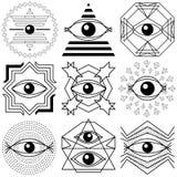 oczy magii Set abstrakcjonistyczni geometrical składy ilustracja wektor