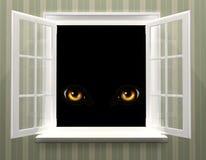 Oczy potwór w otwartym okno ilustracja wektor
