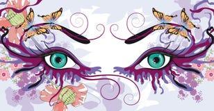 Oczy z kwiecistymi projektami ilustracja wektor
