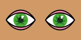 Oczy z marihuana liśćmi inside royalty ilustracja