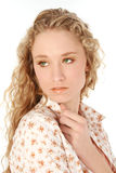 oczy zielone włosy blondynek Zdjęcia Stock