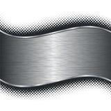 Oczyszczony srebny metalu tło i czarny halftone royalty ilustracja
