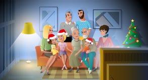 Odświętność boże narodzenia z Rodzinnym kreskówka wektorem ilustracji