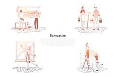 Odświeżanie - ludzie czyści ich mieszkania pojęcia wektorowego set i dekoruje ilustracji