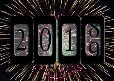 Odómetro 2019 del Año Nuevo con los fuegos artificiales Imagen de archivo libre de regalías