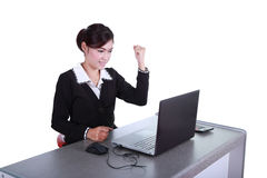 Odświętność bizneswoman z laptopem Fotografia Stock