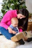 odświętności bożych narodzeń rodzinny szczęśliwy dom Zdjęcie Royalty Free