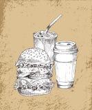 Odświeżać napoje i Dużą hamburger ilustrację royalty ilustracja