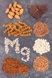 Odżywczy łasowanie zawiera magnez Zdrowy odżywianie jako witaminy, kopaliny i włókno źródła, obraz royalty free