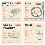 Od?ywianie fact mas?o, jajko, jogurt i mleko, R?ka remisu wektor ilustracja wektor