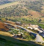 od hig   h w wioski Morocco Africa budowach i polu Zdjęcie Royalty Free