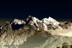 Od lewicy, India - Wspina się Południowego Kabru, Wspina się Północnego Kabru i Wspina się, Talung, Sikkim - Zdjęcia Stock