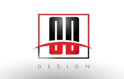 OD O D Logo Letters avec des couleurs et le bruissement rouges et noirs Photo stock