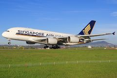 A380 od Singapur samolotów zdjęcie royalty free