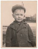 Od Soviet Black and white portrait photograph of a little boy. Royalty Free Stock Photo