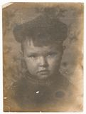 Od Soviet Black and white portrait photograph of a little boy. Old Black and white photographs Stock Photography