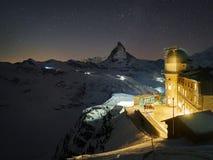 Od szczytu za Gornergrat Matterhorn i obserwatorium breathtaking widok najwięcej nakładającej góry w Europa zdjęcie stock