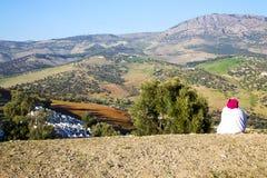 od wysokości w wioski kobiecie Zdjęcie Royalty Free