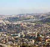 Od wysokości w wioski Morocco Africa budowach i polu Zdjęcie Royalty Free