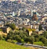 Od wysokości w wioski Morocco Africa budowach i polu Obrazy Royalty Free
